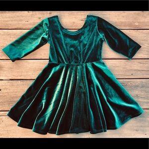 Green Velveteen Girls Twirly Dresses
